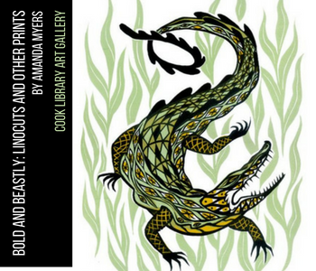 image of green grass with green, yellow and black alligator with text in black text box, Bold and Beastly: Linocuts and Other Prints by Amanda Myers, Cook Library Art Gallery