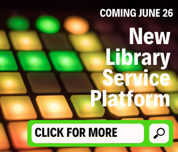 background is a panel of lighted buttons in green, yellow and orange with the text Coming June 26, New Library Service Platform. Across the bottom is a green and white search bar with the text in the search bar, Click for More.